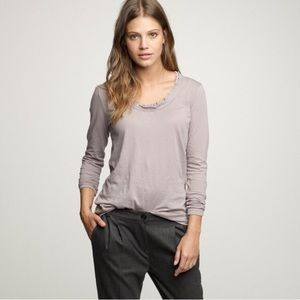 J. Crew Layered Tissue Ruffle Neckline Long Sleeve